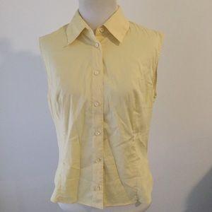 Prada sleeveless yellow button up shirt 44